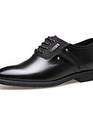 Для мужчин обувь Кожа Весна Лето Осень Зима Удобная обувь Формальная обувь Туфли на шнуровке Шнуровка Назначение Повседневные Черный