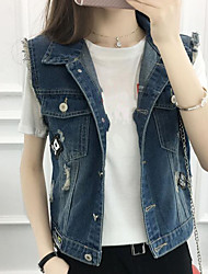 Women's Casual/Daily Simple Spring Vest,Solid Shirt Collar Sleeveless Short Cotton Others