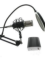 Metal Computer Capacitive Professional KTV Microphone BM 800 PC 3.5mm Condenser Audio Studio Vocal Recording Mic  With Stand and 48V Phantom Power