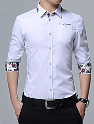 Men's Plus Size Casual Slim Floral Long Sleeve Dress Shirt Cotton Polyester