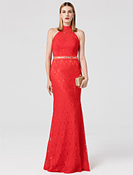 Mermaid / Trumpet High Neck Floor Length Lace Formal Evening Dress with Crystal Detailing Sash / Ribbon by TS Couture®