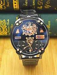 JUBAOLI Hombre Reloj Deportivo Reloj de Moda Reloj de Pulsera Chino Cuarzo Dos Husos Horarios Esfera Grande Acero Inoxidable BandaCool