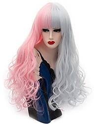 Mujer Pelucas sintéticas Sin Tapa Largo Rizado Rosa / Morado Peluca natural Peluca de fiesta Peluca de Halloween Peluca de carnaval Las