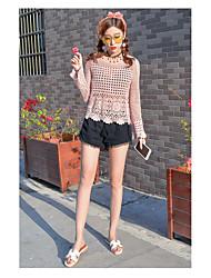 Manches Ajustées Pantalon Costumes Femme,Grille / Carreaux Sortie Chic de Rue Eté Manches longues Col Arrondi Ouvert non élastique