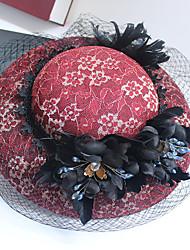 Tulle Mousseline de soie Dentelle Strass Tissu Filet Casque-Mariage Occasion spéciale Anniversaire Fête/Soirée Coiffure Chapeau 1 Pièce