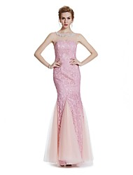 Mermaid / Trumpet Illusion Neckline Floor Length Lace Formal Evening Wedding Party Dress with Beading Crystal Detailing Embroidery