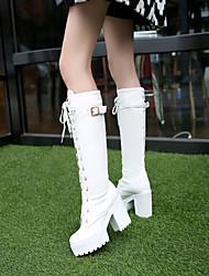 Mujer Zapatos PU Otoño Invierno Confort Botas Tacón Bajo Dedo redondo Con Para Casual Blanco Negro