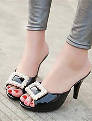 Femme Chaussures à Talons Confort Polyuréthane Eté Décontracté Noir Rouge Rose 10 à 12 cm