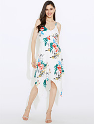 Women's Casual/Daily Formal Simple Loose Sheath Dress,Print V Neck Midi Knee-length Sleeveless Polyester Blue White All Seasons Low Rise