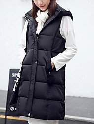 Women's Casual/Daily Simple Winter Vest,Solid Hooded Sleeveless Long Cotton