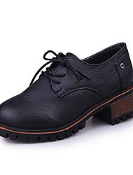 Для женщин Туфли на шнуровке Удобная обувь Осень Зима Полиуретан Повседневные Шнуровка На низком каблуке Черный Коричневый Менее 2,5 см