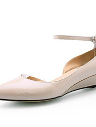 Damen Sandalen Komfort Echtes Leder PU Frühling Sommer Normal Hautfarben Burgund Unter 2,5 cm