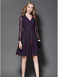 Gaine Robe Femme Sortie Mignon,Broderie Col en V Mi-long Manches Longues Polyester Automne Taille Haute Micro-élastique Moyen