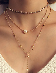 Women's Layered Necklaces Statement Jewelry Casual Alloy Tassel Fashion Bohemian Luxury Simple Classic Female Punk Ladies Imitation Pearl Necklace