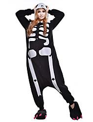 kigurumi Pyjamas Squelette Collant/Combinaison Fête / Célébration Pyjamas Animale Halloween Noir blanc Imprimé Polaire Kigurumi Pour