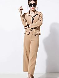 Mujer Chic de Calle Noche Casual/Diario Trabajo Primavera Otoño Camisas Pantalón Trajes,Cuello Camisero Un Color Manga Larga Microelástico