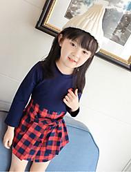 Menina de Vestido Xadrez Primavera Outono Algodão Poliéster Manga Longa