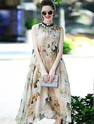 Для женщин Для вечеринок На выход На каждый день Уличный стиль Изысканный Свободный силуэт Платье С принтом,Воротник-стойка Средней длины