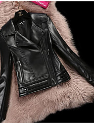 Women's Casual/Daily Simple Winter Leather Jacket,Solid Shirt Collar Long Sleeve Short Goatskin