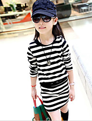Girl's Striped Dress,Cotton Polyester Spring Fall Long Sleeve