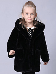 Girls' Solid Jacket & Coat,Faux Fur Special Fur Types Winter Long Sleeve