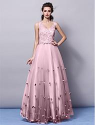 Trapèze Princesse Col en V Longueur Sol Tulle Soirée Formel Robe avec Appliques Fleur(s) par TS Couture®