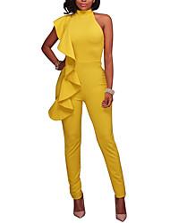 Feminino Simples Sensual Moda de Rua Cintura Alta Informal Casual Bandagem Macacão,Skinny Cor Única Babados Primavera Verão
