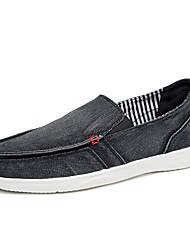 Hombre Zapatos de taco bajo y Slip-Ons Confort Suelas con luz Tela Verano Otoño Casual Combinación Tacón Plano Negro Azul Oscuro Caqui