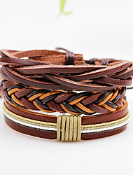 Men's Women's Leather Bracelet Wrap Bracelet Punk Adjustable Personalized Rock Multi-ways Wear Leather Line Jewelry For Casual Stage Date