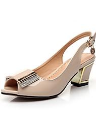 Women's Heels Comfort Novelty Summer Fall Leatherette Walking Shoes Dress Bowknot Buckle Chunky Heel Black Almond 2in-2 3/4in