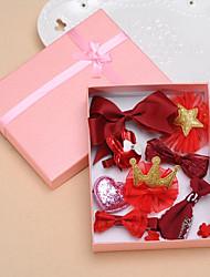 Children's cloth lace bowknot hairpin gift box crown duckbucks small girl birthday gift