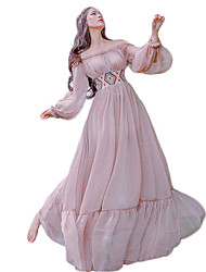 One-Piece/Dress Vintage Inspired Elegant Princess Cosplay Lolita Dress Pink Solid Vintage Bishop Long Sleeve Floor-length Dress For Lace