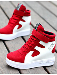 Women's Sneakers Comfort Fall Winter Real Leather Pigskin Casual Black/White Red/White Black/Red White/Silver 3in-3 3/4in