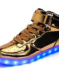 Homme Baskets Marche Confort Chaussures Lumineuses Similicuir Automne Hiver Athlétique Décontracté La boucle du crochet LED Talon BasOr
