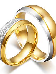 Men's Women's Couple Rings AAA Cubic Zirconia Fashion Elegant Titanium Steel Round Jewelry For Wedding Engagement Ceremony