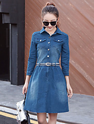 Women's Casual/Daily A Line Dress,Solid Shirt Collar Above Knee Long Sleeves Polyester Summer High Rise Inelastic Medium