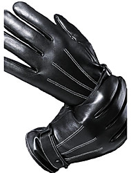 Men's Telefingers Drive Cycling Gloves Genuine Leather Fur Wrist Length Fingertips Windproof Keep Warm Waterproof Black