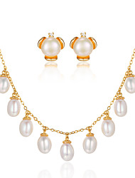 Beadia Jewelry Set 925 Sterling Silver Necklace & Earrings With Fresh Water Pearl