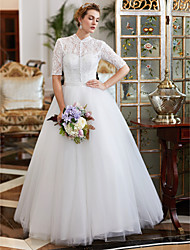 Ball Gown High Neck Floor Length Lace Tulle Wedding Dress with Beading Buttons by YUANFEISHANI