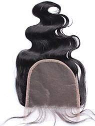 5x5 Spitze Verschluss gebleicht Knoten Körper Welle indischen 100% Menschenhaar Verschluss mit Baby Haar natürliche schwarze Farbe frei /