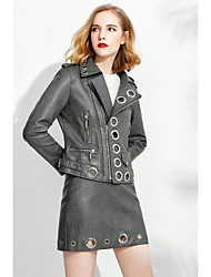 Women's Going out Casual/Daily Simple Punk & Gothic Fall Winter Jacket,Solid Notch Lapel Long Sleeve Regular PU