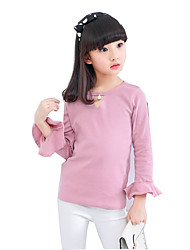 Girls' Solid Tee,Cotton Polyester Spring Fall Long Sleeve