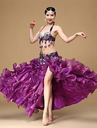 Danse du ventre Tenue Femme Spectacle Coton Polyester Organza Pendentif Franges Ouverture frontale 3 Pièces Taille basseJupes