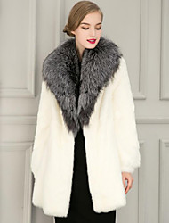 Women's Plus Size Going out Simple Fall Winter Fur Coat,Solid Shirt Collar Long Sleeve Long Faux Fur