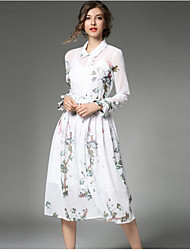 Women's Casual/Daily A Line Dress,Floral Shirt Collar Midi Long Sleeves Rayon Polyester Spring Fall Mid Rise Micro-elastic Medium