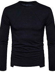 Men's Casual/Daily Street chic T-shirt,Solid Round Neck Long Sleeves Polyester