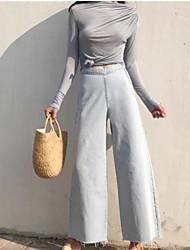Feminino chinoiserie Inelástico Perna larga Calças,Perna larga