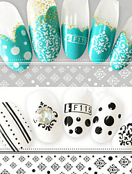 2pcs/Set Creative Geometric Pattern Fashion Design Black White Individuality Nail Art 3D Sticker DIY Beauty Sweet Decoration Sticker F115