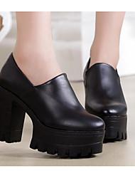 Feminino Saltos Conforto Botas da Moda Pele Real Couro Ecológico Outono Inverno Casual Preto 10 a 12 cm