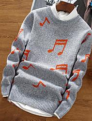 Standard Pullover Da uomo-Per uscire Casual Tinta unita A strisce Monocolore Rotonda Manica lunga Cotone Rayon Autunno Inverno Spesso